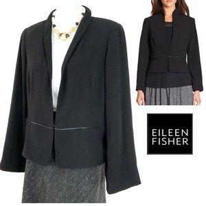 Eileen Fisher Leather Trimmed Peplum Blazer Sz L
